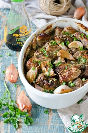 Рецепт Запеченное мясо в луково-соевом маринаде