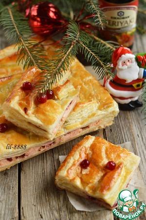 Рецепт Слоеный пирог с семгой и клюквой