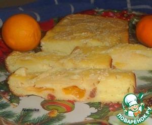Рецепт Манный пирог с изюмом и мандаринами