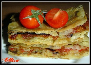 Рецепт Пирог из лаваша с баклажанами, помидорами, грибами и сыром