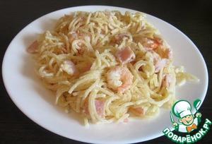 Как готовить Макароны с креветками и ветчиной в сливочно-чесночном соусе домашний рецепт приготовления с фото