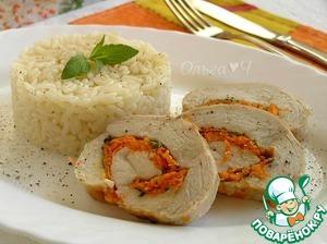 Рецепт Куриный рулет с мятным сыром и морковью
