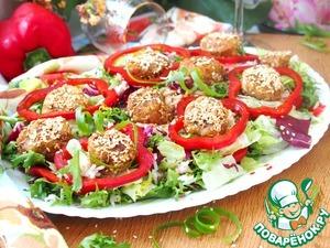 Рецепт Овощной салат с ароматным рисом и шариками из кабачков