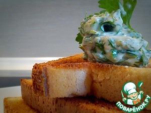 Рецепт Горячие закусочные бутерброды с чесночным маслом и зеленью