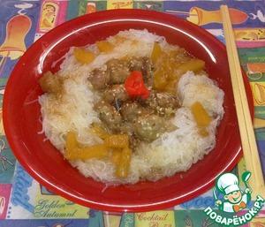 Рецепт Фунчоза со свининой и ананасами в кисло-сладком соусе