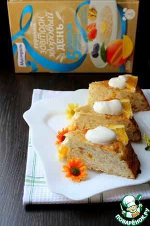 Рецепт Творожная запеканка с овсяными хлопьями и апельсином