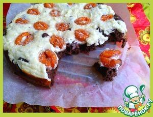Рецепт Пирог шоколадно-творожный с абрикосами