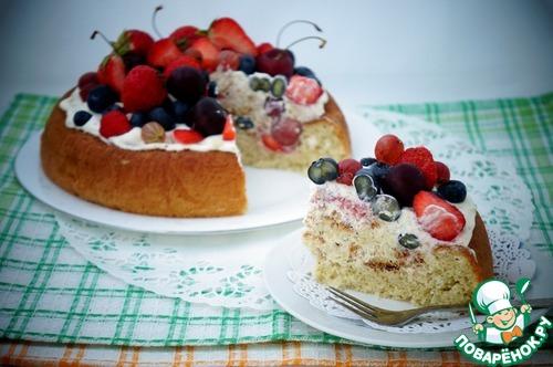 """Торт """"Чадейка"""" со сливками и ягодами"""