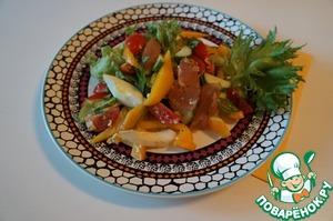 Рецепт Легкий салат с карпаччо из курицы
