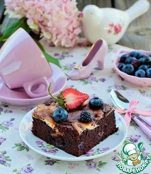 Рецепт Мраморный брауни с ежевикой и голубикой