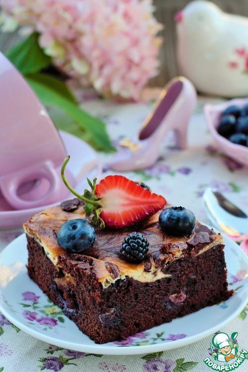 шоколадный брауни рецепт с черникой-хв10