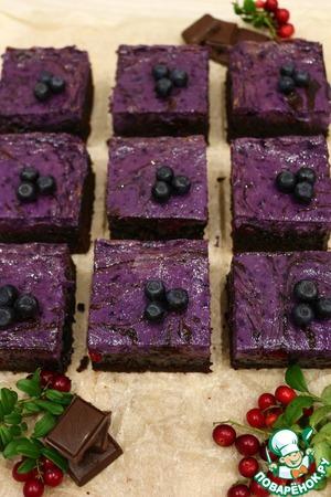 Рецепт: Брауни с сливочным сыром и лесными ягодами