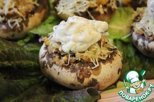 Рецепт Грибы фаршированные кашей из гречневых хлопьев под грибным соусом