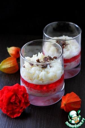 Рецепт Каша из рисовых хлопьев с клубничным желе