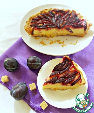 Рецепт Пирог со сливами и заварным кремом