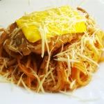 Спагетти с жареной курицей