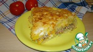 Рецепт Пушистый пирог с консервированной сайрой
