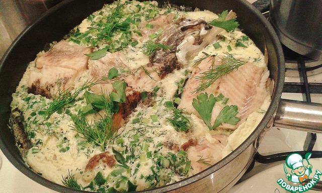 Рыба под омлетом в духовке