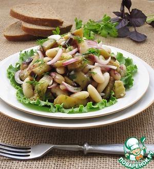 Рецепт Салат из баклажанов, фасоли и маринованного лука