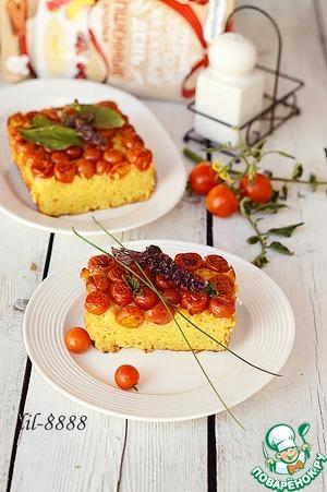 Рецепт Запеканка с пшенными хлопьями, творогом и помидорами