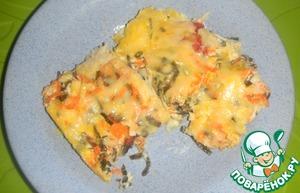 Рецепт Палтус, запеченный с морской капустой и овощами-микс под сырной корочкой