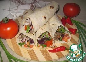 Рецепт Лаваш с мясом, рисом, фасолью и помидорами
