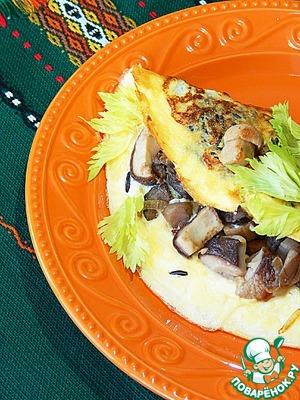 Рецепт Омлет с рисом, фаршированный белыми грибами