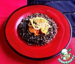 Рецепт Морепродукты в вине с диким рисом