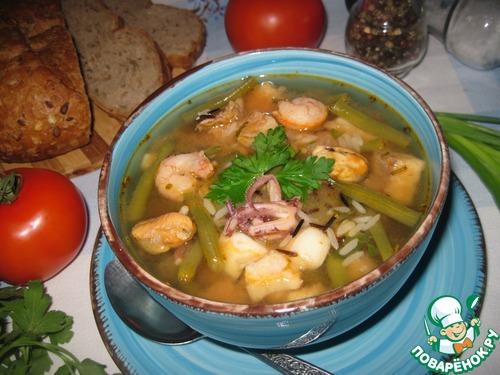 рецепт суп томатный с морепродуктами рецепт #11