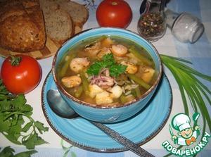 Рецепт Томатный суп с рисом, фасолью и морепродуктами