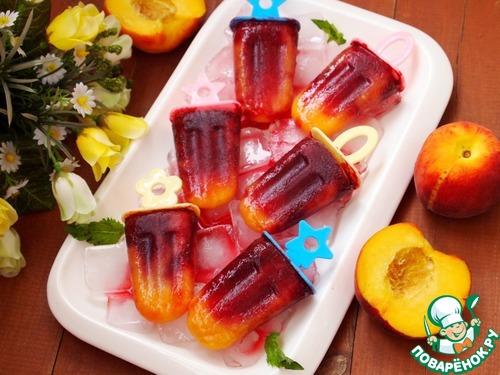 Персиково-вишневый фруктовый лед