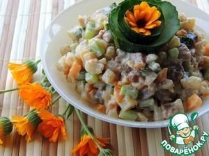 Рецепт Салат из овощей с копчённой рыбой