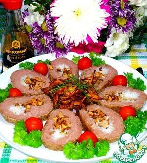 Рецепт Мясной рулет с рисом и грибами