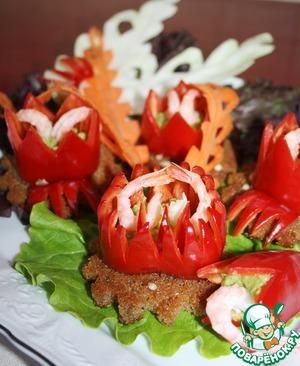 Рецепт Закуска с перцем и авокадо на чесночных греночках
