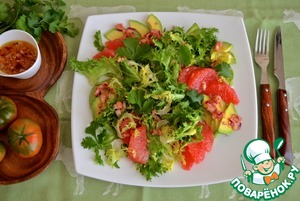 Салат с грейпфрутом и авокадо домашний рецепт с фотографиями