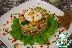 """Рецепт Салат """"Яркие краски"""" с яйцом пашет и соусом айоли"""