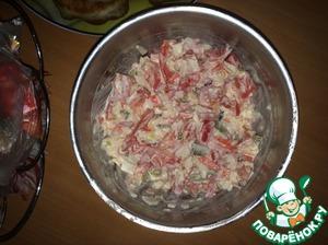 Рецепт Крабовый салат с солеными огурцами