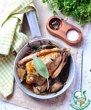 Рецепт Запеченный голубь и кассуле с грудинкой