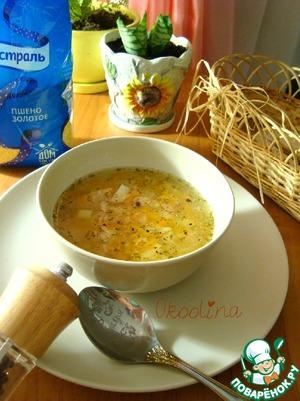 Рецепт Пшённый суп с консервированным тунцом