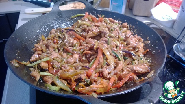 вок с овощами и курицей рецепт с фото