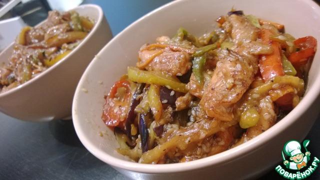 Вок курица с овощами рецепт с пошагово в