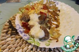 Рецепт Говядина в горшочке с овощами и луковым соусом