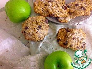 Рецепт Овсяное печенье с яблоком, изюмом и орехами