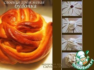 Рецепт Слоеные булочки из дрожжевого теста быстрого приготовления