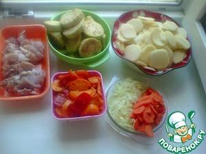 Рецепт Картофель, тушеный с мясом и баклажанами