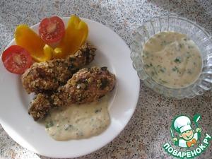 Рецепт Голень куриная в овсяных хлопьях с сырным соусом