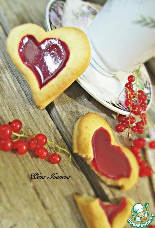 """Печенье """"Сердечки"""" с красной смородиной"""