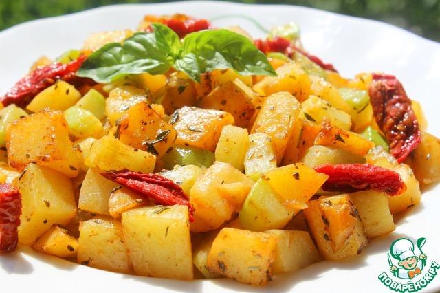 картофель запеченный с кабачками и помидорами в духовке рецепт