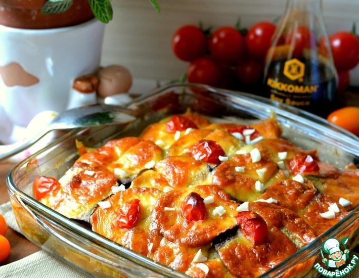 Рецепт: Запеченные баклажаны с куриным мясом