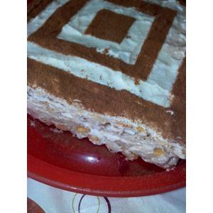 Шоколадно-ванильный торт с творожно-зефирным кремом